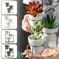 Nordic Style Ceramic Succulent Flower Planter Pot Iron Holder Rack Garden Decor