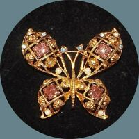 """VINTAGE LARGE BUTTERFLY PIN BROOCH-FAUX RHINESTONE GLASS SIGNED AVON-ESTATE-2"""""""