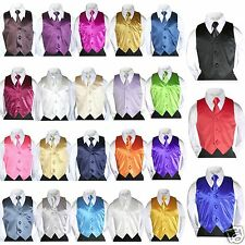 2pc Satin Vest Necktie set of Baby Toddler Kid Teen Formal Suit Color Selection