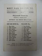 More details for west ham united v fulham | 1965/1966 | reserves | 19 mar 1966 | uk freepost