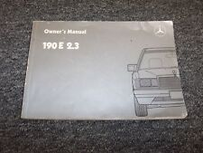 1986 Mercedes Benz 190E 2.3 Owner Owner's Operator User Guide Manual 2.3L