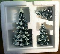 Dept 56 Snow Village EVERGREEN TREES Cold Cast Porcelain Set of 3 52051 RETIRED