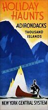 Adirondacks 1934 New York Central RR Vintage Poster Print Retro Style Travel Art