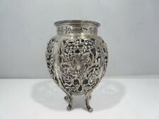 UNUSUAL VICTORIAN PIERCED  STERLING SILVER VASE WITH GRAPES
