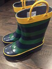OshKosh B'Gosh Genuine Rubber Wellies Rain Boots Green Blue Yellow Striped Boys