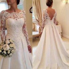 Noble Long Sleeve Wedding Dresses Lace Satin Bridal Gowns Size 2--20 White Ivory