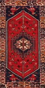 Vintage Tribal Geometric Abadeh Hand-knotted Area Rug Wool Oriental 4'x6' Carpet