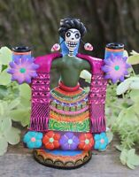 Frida Kahlo Day of the Dead Detailed Candlestick Handmade Puebla Mexico Folk Art
