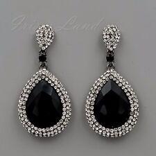 Alloy Black Jet Crystal Rhinestone Chandelier Drop Dangle Earrings 00516 New