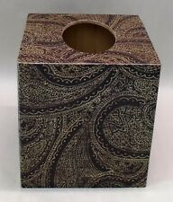 Handmade Decoupage Wood Tissue Box Cover, Brown Damask