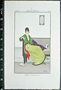 Armand Vallee,Journal des dames,Woman&small dog on sofa,handc.Eng.1913.