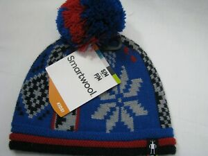 NEW SmartWool Kids Knit Beanie Hat Blue Gray Alpine Snowflake Cap S/M NWT Pompom