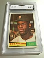 BOB GIBSON (HOF) 1961 Topps #211 GMA Graded 6.5 EX-NM+