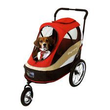 IBIYAYA 3-Wheeled Collapsible Pet Dog Bicycle Trailer Stroller Pram - Red
