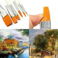 6Pcs Artist Brushes Set Oil Color Paint Art Painting Blue Wooden Handles Kit JJ