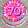 PRECUT EDIBLE ICING CAKE TOPPER 7.5 INCH HAPPY 70TH BIRTHDAY PINK LIGHT JCBLP070