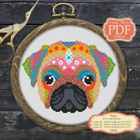 Mandala Pug Dog Embroidery Cross stitch PDF Pattern Zentangle animals #242