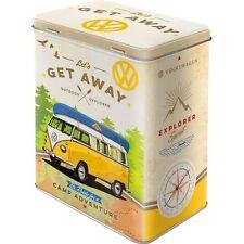 Vintage Style Retro Lidded Storage Tin - VW Lets Get Away Split Screen Camper