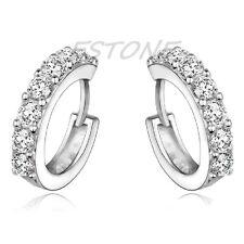 Silver Plated XS Tiny Huggie Hoop Cubic Zirconia Girls Earrings