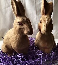 2 Vintage Drake Paper Mache Rabbits Bunnies Need To Go To Bunny Hospital