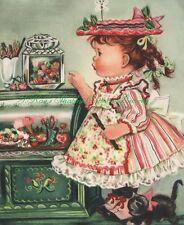 5x7 Fabric Block Sweet Charlotte Byj Little Girl Vintage Print Repro