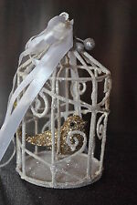 New Beautiful Bird Cage w/Gold Bird Xmas/Wedding Ornament Glittered Moveable
