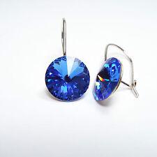 Damen Ohrringe 925 Sterling Silber Swarovski Kristalle 10 mm Hänger Saphir Blau