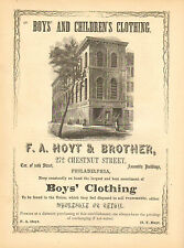 F.A. Hoyt & Brother, Boys' Clothing, Philadelphia, PA. 1856 Antique Print Ad