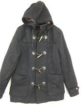 Mens Topman Navy Wool Toggle Buttons Coat Hood Duffle Size Medium Pockets