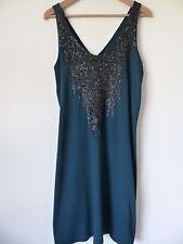 BNWOT EDC by Esprit verde azulado oscuro hermoso vestido adornado, Talla M, Nuevo!