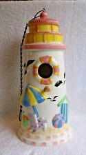 Wcl Ceramic Birdhouse with Wood Post - Beach Scene - Pre-Owned