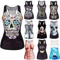 Women Print Tank Tops Vest Blouse Gothic Punk Club Wear Party Sleeveless T-Shirt