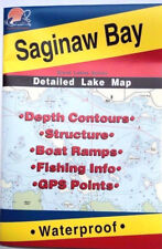 Saginaw Bay Detailed Fishing Lake Map, GPS Pts, Waterproof, Depth Contours #L129