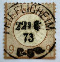 1873 PFIFFLIGHEIM (WORMS) SON CANCEL ON GERMANY STAMP