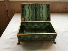 "Vintage Glass Jewelry box encased Brass frame, Top glass has crack, 9"" x 5.25"""