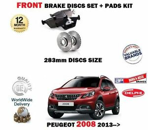 FOR PEUGEOT 2008 1.2 1.4 1.6 HDI 2013-> FRONT BRAKE DISCS 283mm SET + PADS KIT