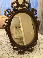 Vintage Ornate RIBBON And Flowers Oval Wall or Vanity Mirror  - GORGEOUS!