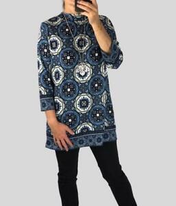 Marks Spencer M&S Womens Blue Patterned Longline Soft Brushed Tunic Size 20
