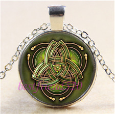 Celtic Triquetra Photo Cabochon Glass Tibet Silver Chain Pendant Necklace