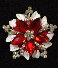 Rhinestone Ruby Red Crystal Brooch Pin Christmas Flower Scarf Decoration #51