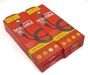 4x USB Schnell Laden Daten Lightning Kabel Schwarz Rot Nylon 1 M für iPhone