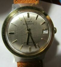 wrist watch & date window leather good mens clean timex mens automatic wind