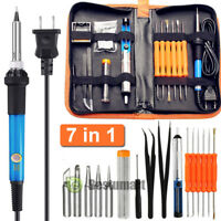 NEW 7IN1 60W Adjustable Electric Temperature Gun Welding Soldering Iron Tool Kit