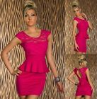 Sz S 8 10 Pink Cap Sleeve Peplum Sexy Lace Formal Party Cocktail Club Mini Dress