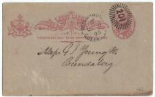 QUEENSLAND 1895 POSTAL CARD ROCKHAMPTON DUPLEX FANCY CANCEL TO BUNDABERG