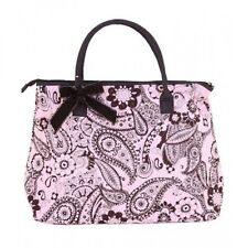 Pink & Brown Paisley Print Quilted Carry On Tote Overnight Bag