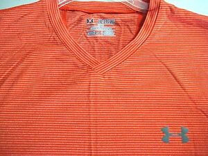UNDER ARMOUR cold*gear Fitted L/S V-Neck Pullover Shirt Size 2XL- Orange Striped