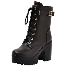 LADIES WOMENS COMBAT ARMY MILITARY WORKER LACE UP  BIKER HIGH HEEL ANKLE BOOTS