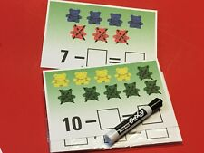 Bear Counter Subtraction Cross out- 20 Laminated  Dry Erase Mats
