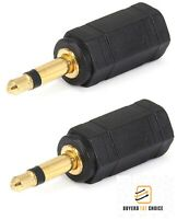 "2x Gold 3.5mm 1/8"" Stereo Female to Mono Male Audio Adapter Headphone Converter"